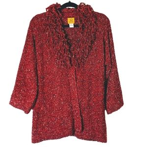 Ruby Rd. | Marbled Red Knit Faux Wrap Cardigan